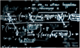 Equations and formulas displayed on blackboard, link to calculators
